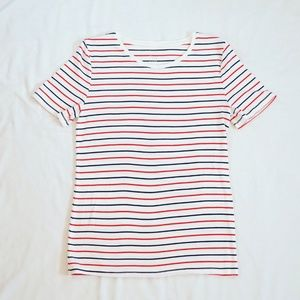 A New Day White Striped Short Sleeve T-Shirt